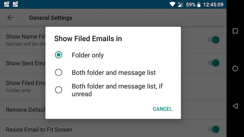 SaneBox | How to optimize Android BlackBerry Hub Email settings