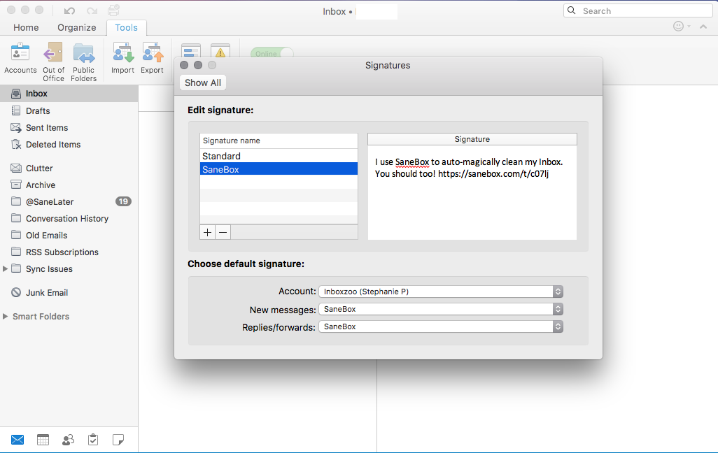 Inviting your friends to SaneBox on a Mac through Outlook