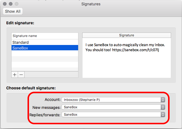 How to select a default email signature