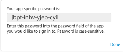 Copy app specific password generated by Apple