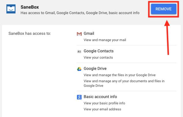 SaneBox | How do I revoke OAuth permissions from an app I
