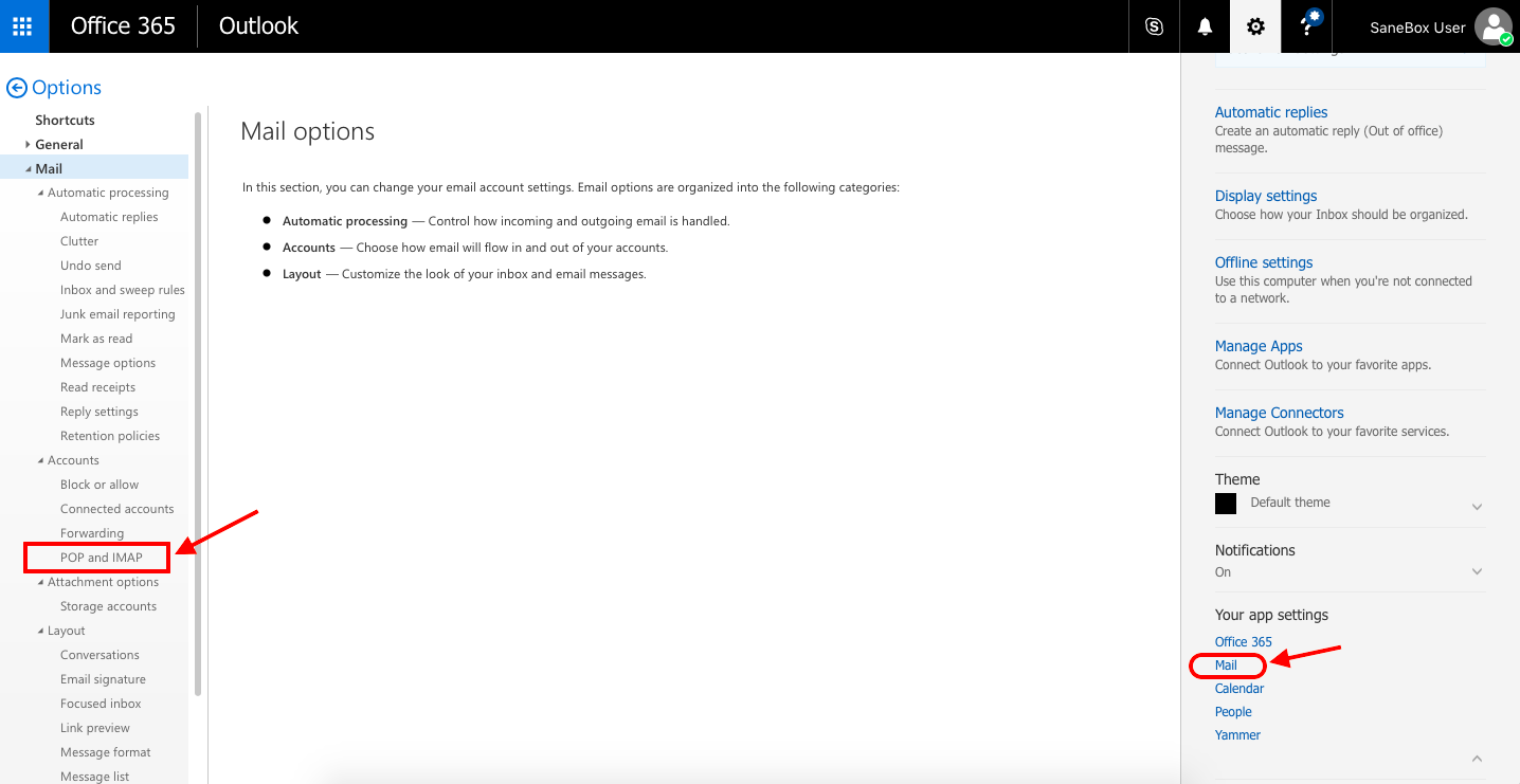 SaneBox | Office 365: How do I find the server settings?