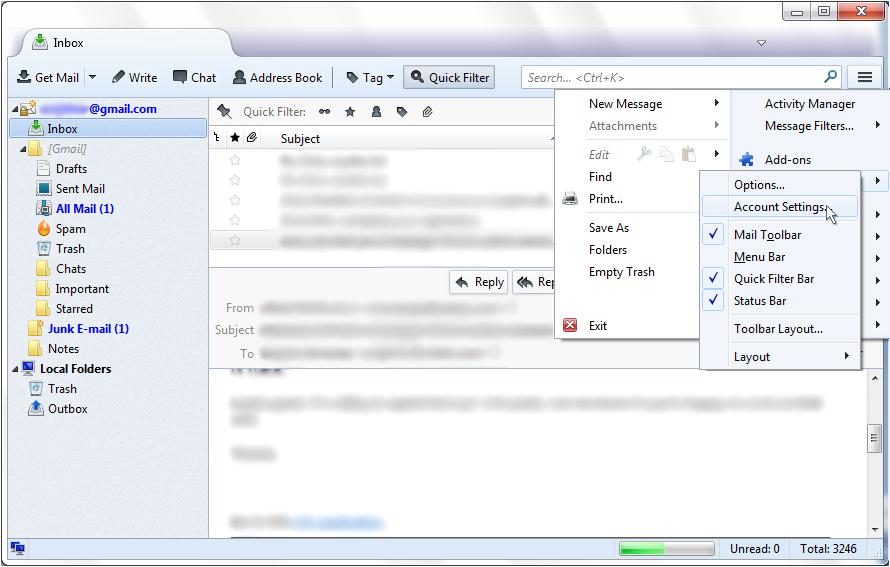SaneBox | Mozilla Thunderbird: How do I find my server settings?