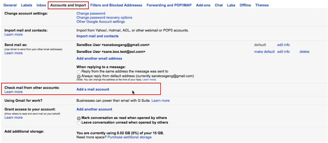 change gmail password link