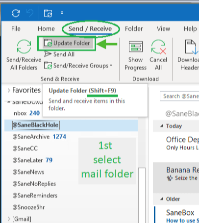 SaneBox   How to make Outlook for Windows check your host's