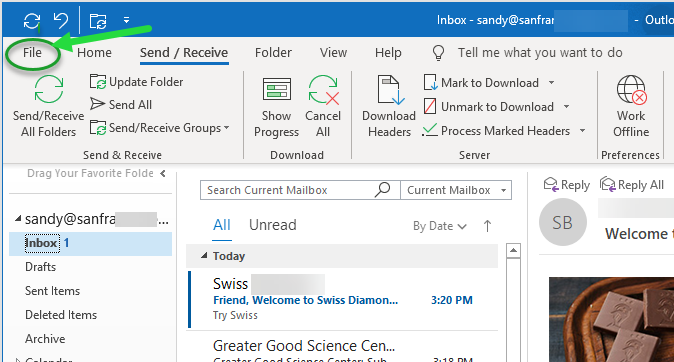 SaneBox | Windows Outlook 2016 to 2019: How do I find my
